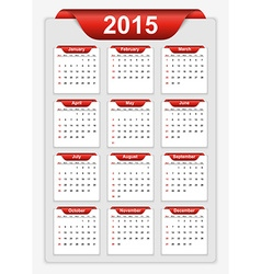 simple calendar 2015 year vector image vector image