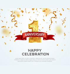 1 year anniversary banner template first vector image