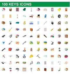 100 keys icons set cartoon style vector