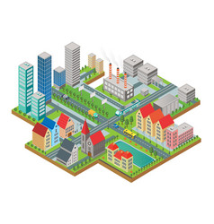 3d isometric three-dimensional modern city view vector