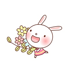 A rabbit is holding flowers vector image