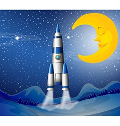 A rocket going to the sky with sleeping moon vector