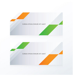 Abstract banner orange green vector