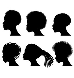 Afro american young woman face black vector