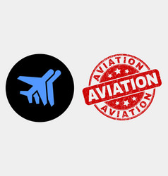 Airplanes icon and distress aviation stamp vector