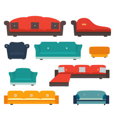 armchairs and sofas flat style vector image
