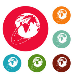 around the world icons circle set vector image