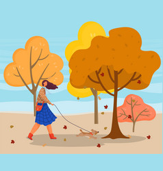 autumn landscape girl walking with dog in park vector image