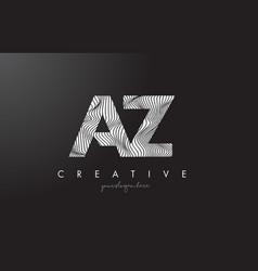 Az a z letter logo with zebra lines texture vector