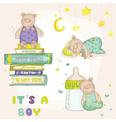Baby bear set - for shower cards vector