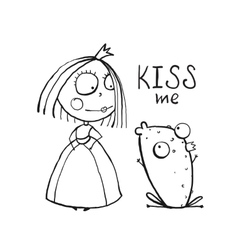Baby Princess and Frog Asking for Kiss Coloring vector image