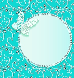 background card with flower lace and delicate butt vector image