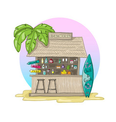 Beach bar with palm tree and sunset with vector