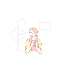 Beautiful girl drinking a cup coffee at kitchen vector
