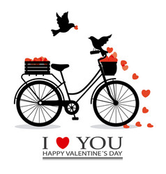 Birds in love on top of a bicycle vector