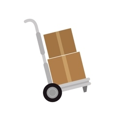 Cargo transportation with hand cart vector