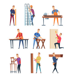 carpenter character professional wood workman vector image