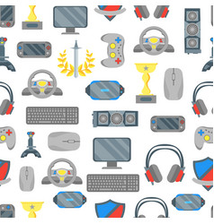 cartoon cyber sport seamless pattern background vector image