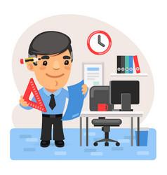 Cartoon engineer in office vector