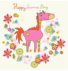 Cartoon floral card with horse vector image