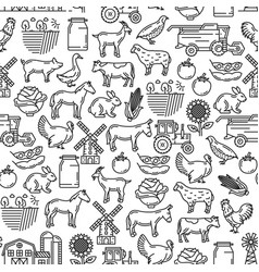 cattle farm agriculture farmer seamless pattern vector image