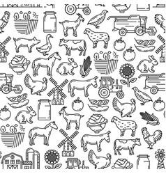 Cattle farm agriculture farmer seamless pattern vector