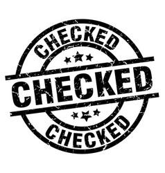 Checked round grunge black stamp vector