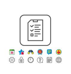 Checklist document line icon file sign vector