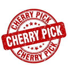 Cherry pick red grunge stamp vector
