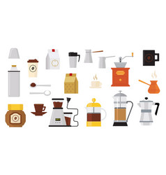 Collection icons on coffee theme vector