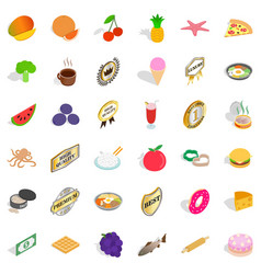 Country dish icons set isometric style vector