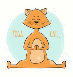 cute cartoon cat standing in yoga pose namaste vector image