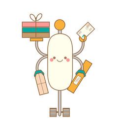 cute kawaii robot character friendly smiling vector image