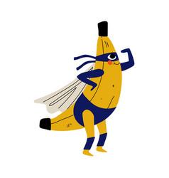 Cute superhero banana in mask and cape funny vector