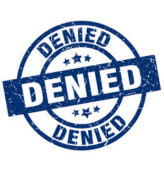 Denied blue round grunge stamp vector