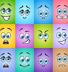 Different Emotions With Blue Eyes On Colored Vector ...