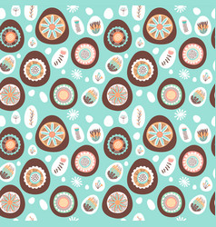easter chocolate egg and flower seamless pattern vector image