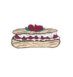 Eclair with raspberry sketch vector