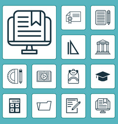 education icons set with file folder audio book vector image