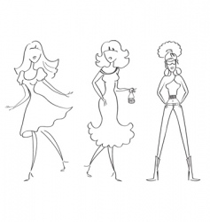 fashion girls1 vector image vector image