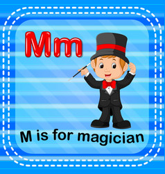 Flashcard letter m is for magician vector