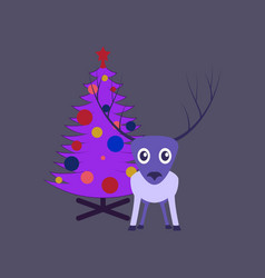Flat on background of christmas tree deer vector