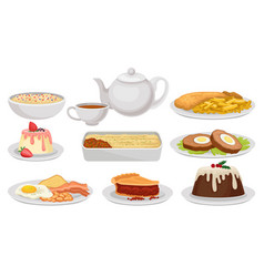 flat set of traditional english food tasty vector image