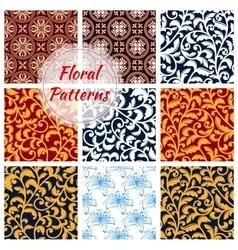 Floral decoration seamless patterns set vector image
