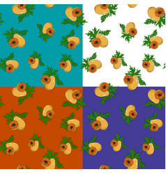 Four seamless pattern with papaya vector