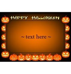 Frame halloween pumpkin vector