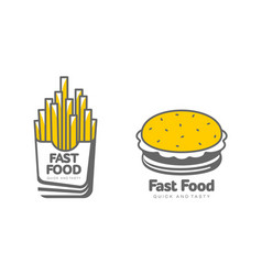 French fries on paper box burger icon set vector