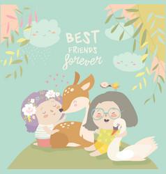 funny cartoon girls with cute deerbest friends vector image