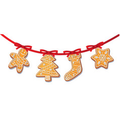 Gingerbread cookies set on garland isolated vector