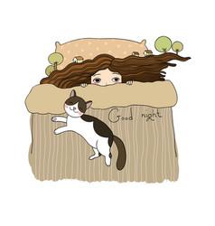 girl and cats good night sweet dreams vector image
